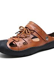 Men's Sandals Water Shoes Comfort Real Leather Cowhide Summer Casual Outdoor Office & Career Flat Heel Light Brown Dark Brown Black Flat