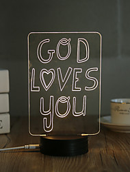 cheap -1 Set, Popular Home Acrylic 3D Night Light LED Table Lamp USB Mood Lamp Gifts, God loves you
