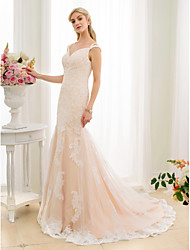 cheap -Mermaid / Trumpet V Neck Court Train Lace Tulle Custom Wedding Dresses with Beading Appliques by LAN TING BRIDE®