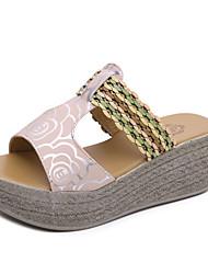 Damen Sandalen Komfort PU Sommer Keilabsatz Weiß Schwarz Rosa 10 - 12 cm
