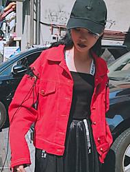 Women's Casual/Daily Street chic Spring Fall Denim Jacket,Letter Shirt Collar Long Sleeve Regular Cotton