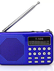 T508 Radio portatile Lettore MP3 Scheda TFWorld ReceiverNero Blu