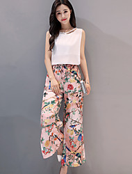 cheap -Women's Daily Casual Summer Blouse Pant Suits,Solid Print Round Neck Sleeveless Others Micro-elastic