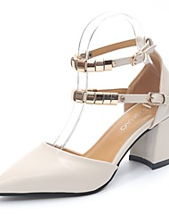 cheap -Women's Heels Comfort Summer PU Dress Buckle Block Heel Beige Yellow 2in-2 3/4in