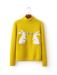 Standard Pullover Da donna-Per uscire Casual Semplice Tinta unita Con stampe Girocollo Manica lunga Altro Autunno InvernoSottile Medio