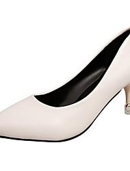 cheap -Women's Heels Light Soles Fall Winter PU Casual Dress Kitten Heel Ruby Beige Black 1in-1 3/4in
