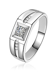 cheap -Men's Luxury Cubic Zirconia Sterling Silver / Zircon Band Ring - Circle / Geometric Metallic / Luxury / Classic Gold / Silver Ring For