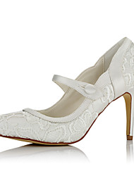 cheap -Women's Shoes Satin / Net Fall / Winter Basic Pump Heels Stiletto Heel Pointed Toe Button for Wedding / Party & Evening / Dress Ivory