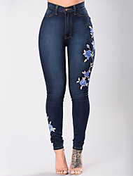 cheap -Women's Street chic Plus Size Skinny Jeans Pants - Floral / Embroidered High Rise / Embroidery