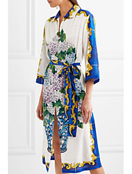cheap -STEPHANIE Women's Daily Going out Chinoiserie Loose Sheath Dress,Geometric Jacquard Embroidered Shirt Collar Midi Knee-length Half Sleeves Silk