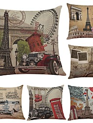 Set of 6 European Retro Tower Linen Cushion Cover Home Office Sofa Square Pillow Case Decorative Cushion Covers Pillowcases Without Insert(18*18Inch)