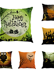 cheap -6 pcs Cotton/Linen Pillow Case Pillow Cover, Printing Classic Novelty Classical Neoclassical Traditional/Classic Retro Halloween