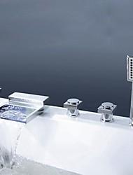 economico -Moderno A 3 fori Cascata Docetta inclusa Valvola in ottone Tre maniglie cinque fori Cromo , Rubinetto vasca