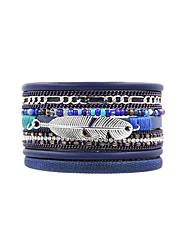Fashion Women Multi Rows Rhinestone Metal Leaf Beads Set Magnet Charm Leather Bracelet