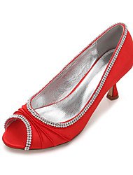 cheap -Women's Shoes Satin Spring Summer Comfort Basic Pump Wedding Shoes Kitten Heel Low Heel Stiletto Heel Peep Toe Rhinestone Sparkling