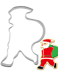 cheap -1pc Stainless Steel Santa Claus backpack Shape Cookie Cutter 3D Biscuit Pastry Fondant Cookie Decorating Mold DIY Cake Tools