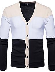 Standard Cardigan Da uomo-Casual Monocolore A V Manica lunga Poliestere Autunno Inverno Medio spessore Media elasticità