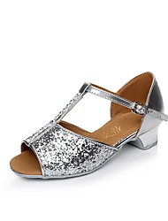 Women's Kids' Dance Shoes Sparkling Glitter Paillette Synthetic Glitter Flats Heels Sneakers IndoorSequin Buckle Sparkling Glitter
