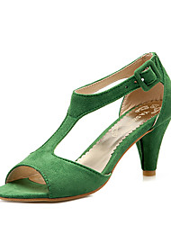 cheap -Women's Shoes Leatherette Summer Formal Shoes Sandals Cone Heel Peep Toe Hollow-out Green / Pink / Burgundy / Party & Evening