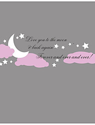 Purple Cloud With Stars Moon Wall Stickers Vinyl Love You to The Moon Quote Wall Decals Home Decor For Kids Baby Nursery Room Living Room 35*120cm