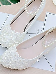 cheap -Women's Shoes Lace / PU(Polyurethane) Spring / Fall Slingback Wedding Shoes Low Heel Beading / Imitation Pearl / Appliques White