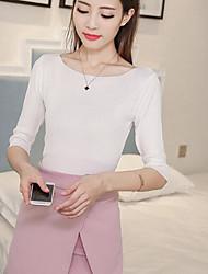 Standard Pullover Da donna-Casual Per uscire Moda città Tinta unita Rotonda Mezza manica Poliestere Primavera Estate Medio spessore