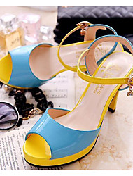 Women's Shoes Real Leather PU Summer Comfort Basic Pump Heels For Casual Black Blue Blushing Pink