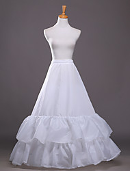 Women's Wedding / Party 2 layers Underskirt Slips A-Line Slip / Ball Gown Slip Floor-length Taffeta Long Petticoats White