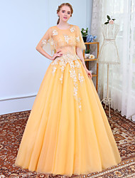 cheap -Ball Gown Jewel Neck Floor Length Tulle Prom Formal Evening Wedding Party Dress with Lace by SG