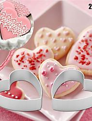 abordables -2 pcs / set cuisine petit amour en forme de coeur en aluminium outils alliage pâtisserie biscuit cookie cutter cuisson moule