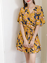 Women's High Rise Going out Holiday Rompers,Cute Active Wide Leg Floral Floral Summer Fall
