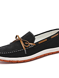 cheap -Men's Boat Shoes Walking Comfort Cowsuede Leather Fall Winter Wedding Casual Party & Evening Chain Flat Heel Khaki Gray Black Flat