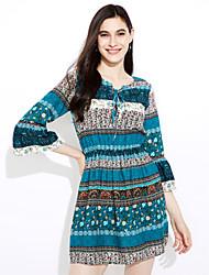 Χαμηλού Κόστους kamila-Γυναικεία Μπόχο Flare μανίκι Φαρδιά Φόρεμα Στάμπα Μίνι