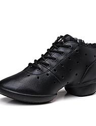 """Mujer Zapatillas de Baile Cuero real Zapatilla Exterior Costura en Encaje Hueco cara a Plano Negro 1 """"- 1 3/4"""" Personalizables"""