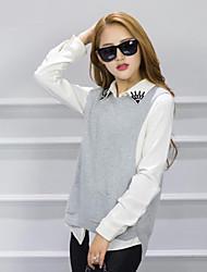 cheap -Women's Daily Regular Vest,Solid Round Neck Sleeveless Wool Winter Fall Medium Micro-elastic