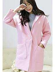Impermeabile Da donna Per uscire Casual Semplice Moda città Autunno Inverno,Tinta unita Con cappuccio Cotone Lungo Manica lunga