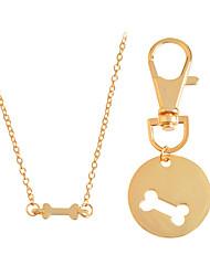 Lovely 2pcs/set Dog Bone Best Friends Charm Necklace Keychain BFF Bones