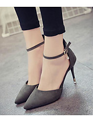 Feminino Sapatos Pele Nobuck Verão Conforto Saltos Para Casual Preto Laranja Cinzento Escuro Amêndoa