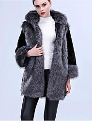 Women's Casual/Daily Simple Winter Fur Coat,Color Block Hooded ¾ Sleeve Long Fox Fur