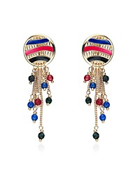 cheap -Lureme Bohemian Jewelry Enamel Metal Round with Beads Tassel Dangle Earring for Women