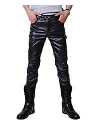 Da uomo A vita medio-alta Punk & Gothic Media elasticità magro Pantaloni,Taglia piccola Tinta unita