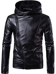 cheap -Men's Street chic Leather Jacket - Solid Colored Hooded / Long Sleeve