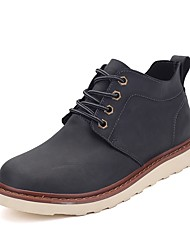 Men's Oxfords Comfort Real Leather Cowhide Fall Winter Casual Outdoor Office & Career Lace-up Flat Heel Khaki Black Flat