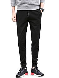 Men's Mid Rise Micro-elastic Jogger Chinos PantsSimple Slim Solid UK-582