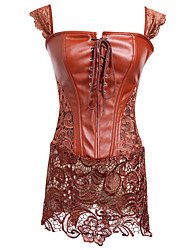 cheap -Women's Corset Dresses Nightwear,Sexy Solid-Medium Brown Red