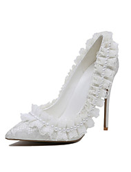 Women's Wedding Shoes Basic Pump Flower Girl Shoes Spring Fall Lace Customized Materials Microfibre Wedding Dress Party & Evening