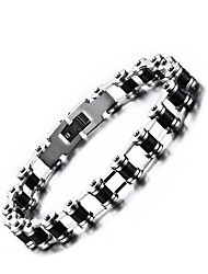 cheap -Men's Stainless Steel Chain Bracelet - Punk Round Black Bracelet For Office / Career Dailywear