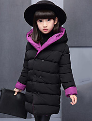 cheap -Girls' Patchwork Down & Cotton Padded,Polyester Winter Fall Long Sleeve Green Purple Yellow