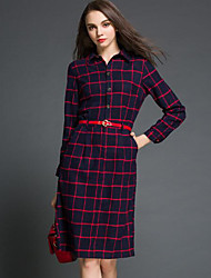 cheap -Women's Going out Loose Dress,Solid Plaid Shirt Collar Above Knee Long Sleeves Cotton Fall Mid Rise Micro-elastic Thin