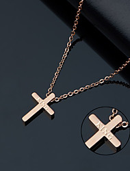 cheap -Ten small smooth titanium necklace rose gold cross women's delicate collarbone chain Korea fashion accessories gifts